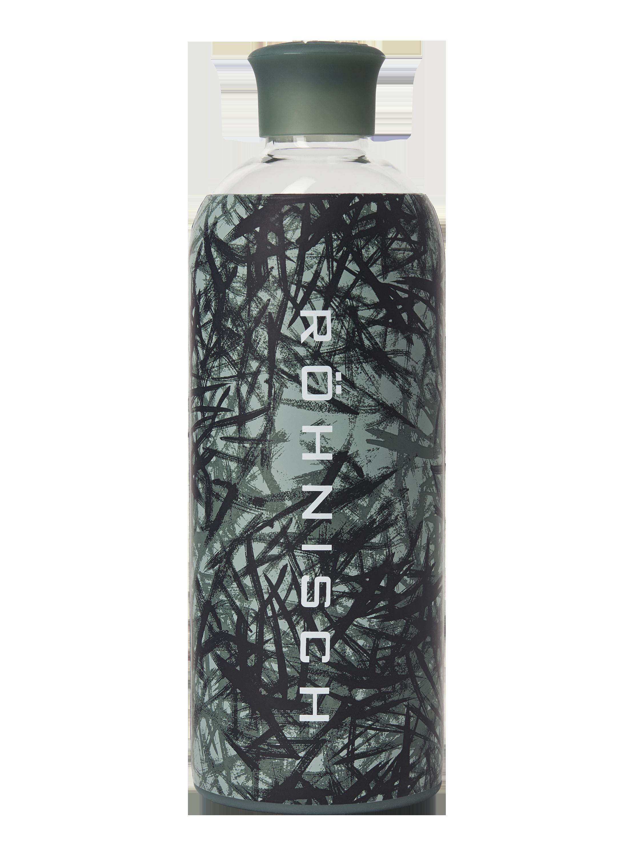 Glass Water Bottle Sketch Green